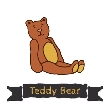pl�schtier: Vektor Teddyb�r sitzen, weiches Spielzeug, Dekoration f�r Kinderthemen
