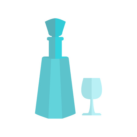 bocal: flat, crystal, cut-glass decanters, faceted bottle with a cork, a carafe of vodka Illustration