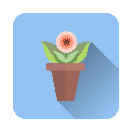 flat vector icon of flower in a pot with a long shadow