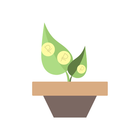 sprout growth: Vector icons sprout, growth rate of the ruble, ruble Illustration