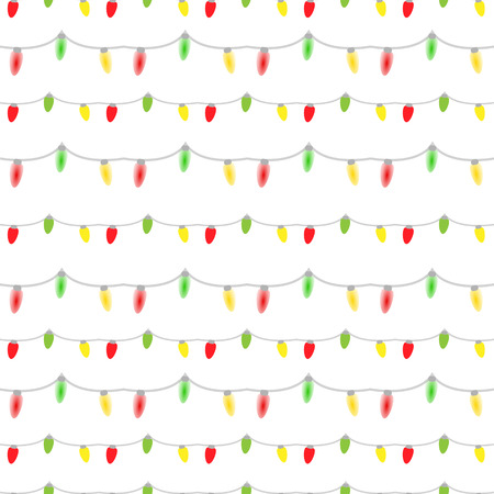 Vector seamless pattern of colored light bulbs garlands Vector