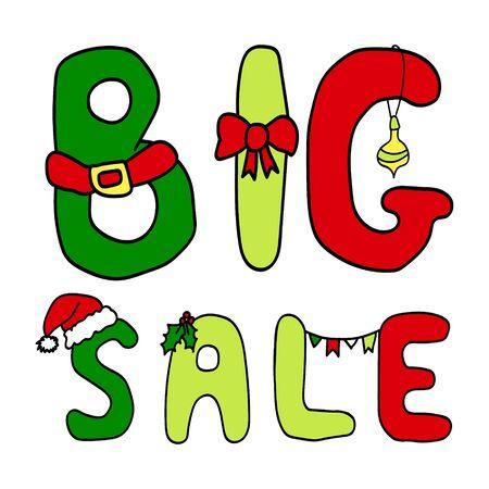 big break: Vector Christmas inscription big sale Illustration