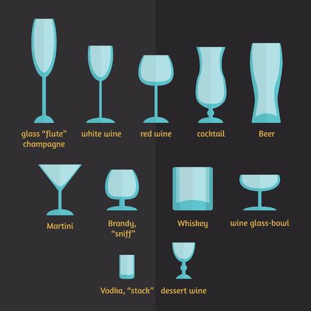 stemware: vector different types of glasses, stemware and glasses Illustration