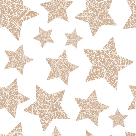 estrellas cinco puntas: vector patr�n transparente de Navidad estrellas de cinco puntas del hilo sobre un fondo claro Vectores