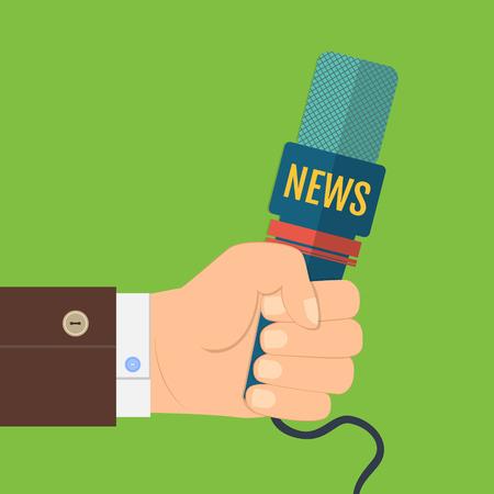 rueda de prensa: ilustraci�n vectorial de un icono de la mano plana que sostiene un micr�fono, el reportero de noticias entrevistas, conferencias de prensa Vectores