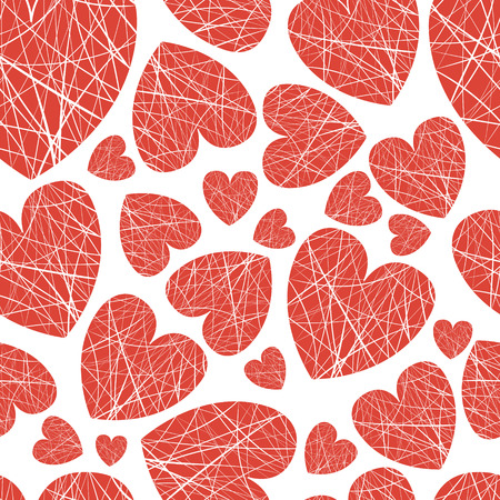 scarlet: vector seamless background hearts of different sizes of thread Illustration