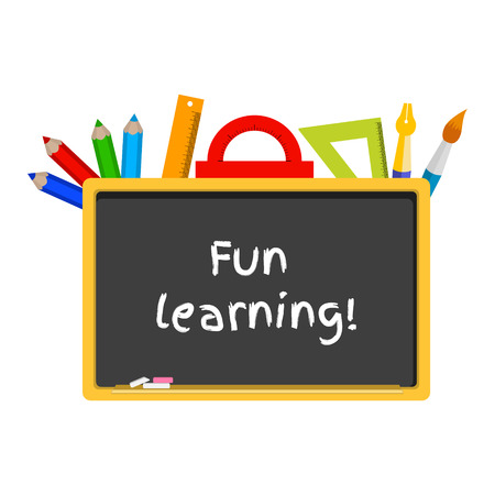 vector illustration of a blackboard, stationery. Caption fun learning Illustration