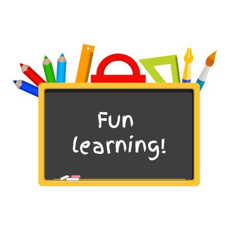 vector illustration of a blackboard, stationery. Caption fun learning 向量圖像