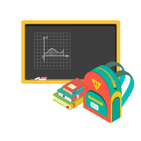 schoolbag: vector illustration of school board, books and schoolbag
