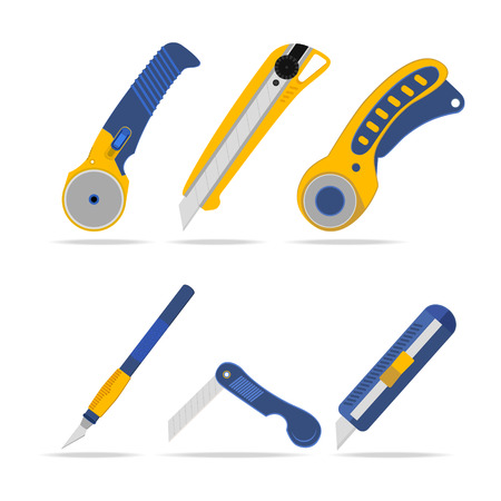 lavoro manuale: Set di coltelli per opera, taglierine e tessuti Vettoriali