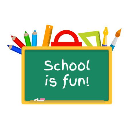 green board: word school is fun on green board