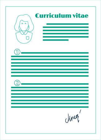 curriculum vitae: vector curriculum vitae, line design