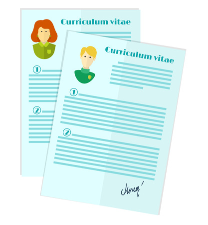 vector illustration of human resources, the choice of candidate for the job, curriculum vitae stack