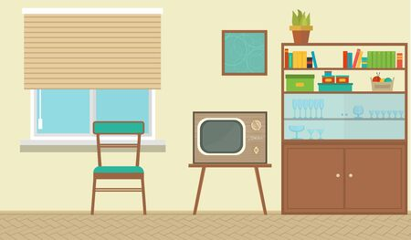 vector Interior of a living room with furniture, vintage room, retro design. Flat style vector illustration.
