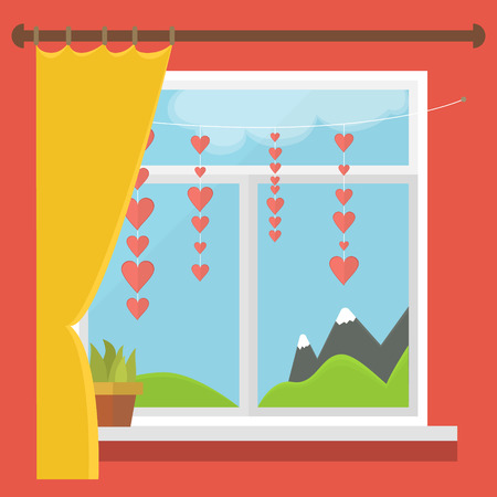 window curtains: vector illustration of a window with a view of the mountains, blind, hearts on a string Illustration