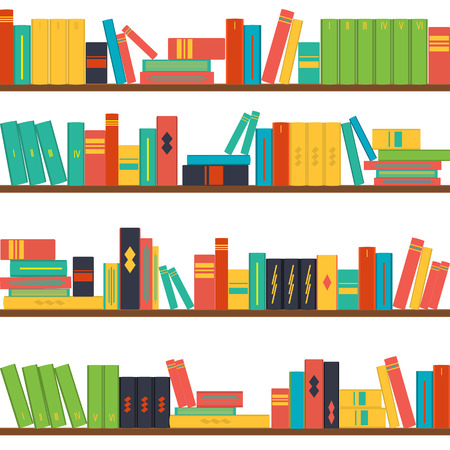 pile books: vector illustration seamless pattern bookshelves