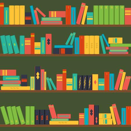 bookshop: seamless pattern bookshelves vector Illustration