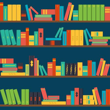 vector seamless pattern bookshelves, background