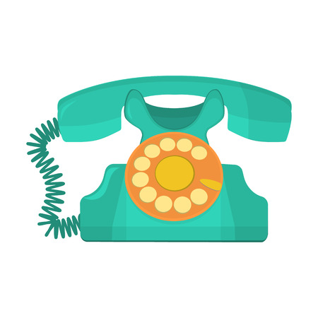 rotary dial telephone: vector object retro telephone, old rotary phone