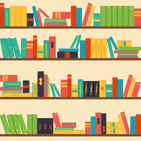bookshelf: vector seamless pattern bookshelves, books