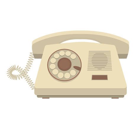 telephone receiver: vector object retro telephone, old rotary phone