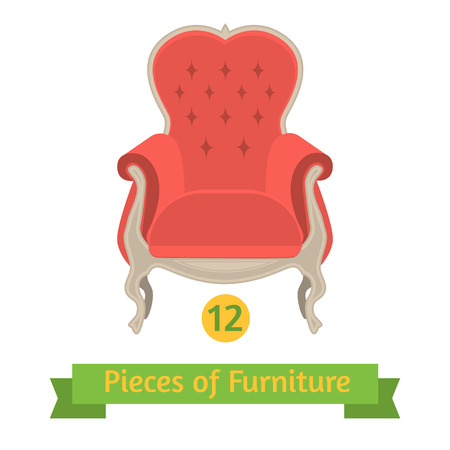 baroque furniture: vector furniture, antique chair baroque, flat design