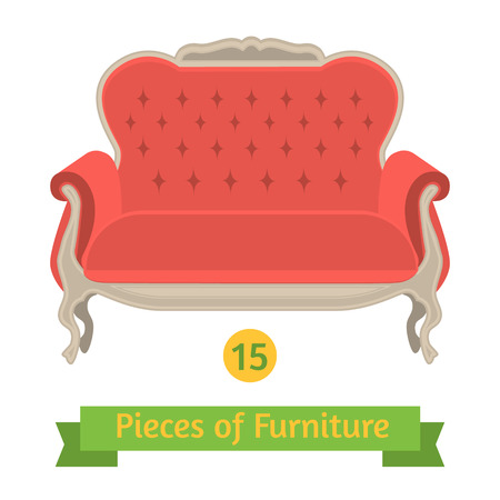 baroque furniture: vector furniture, antique sofa baroque, flat design