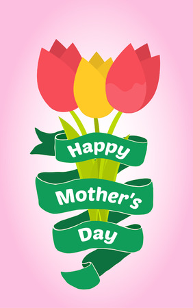 mother s: Vector greeting card for Mother s Day. Tulip bouquet in flat design.