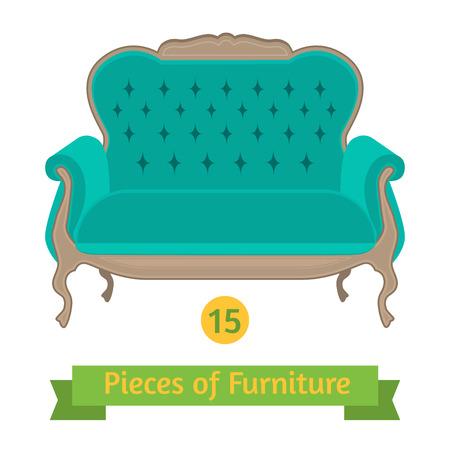 antique furniture: vector furniture, antique sofa baroque, flat design
