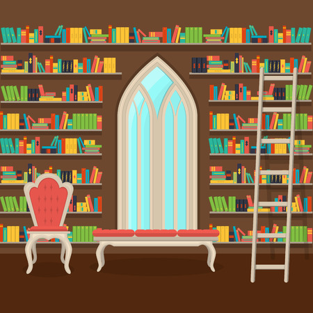 vector illustration. Interior of old large home library 向量圖像