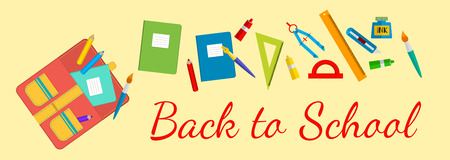 teaching crayons: vector Horizontal banner Back to school. School bags and stationery.