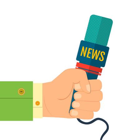 rueda de prensa: ilustraci�n vectorial de un icono de la mano plana sosteniendo un micr�fono reportero de noticias entrevistas rueda de prensa