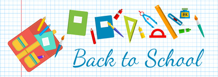 vector Horizontal banner Back to school. School bags and stationery.