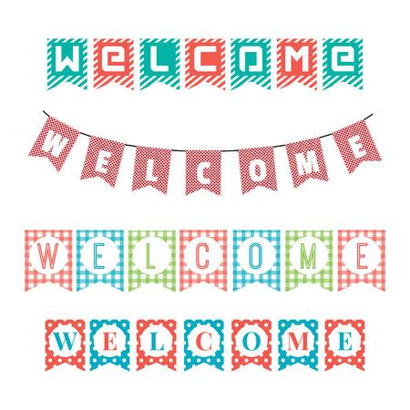 bienvenidos: Palabras de bienvenida a las banderas del partido.