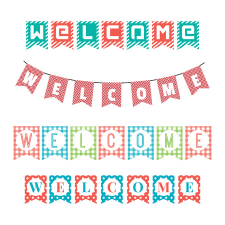 welcome home: Word of welcome to the party flags.