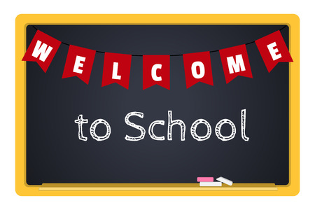 welcome sign: blackboard with chalk and an inscription Welcome to School