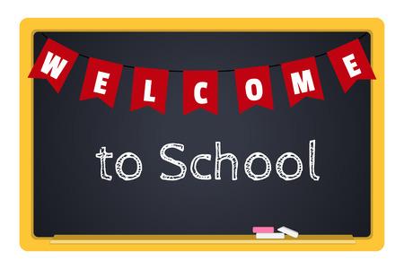the welcome: pizarra con tiza y una inscripci�n Bienvenidos a la Escuela Vectores