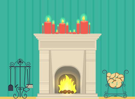 illustration - a fireplace in the living room interior Illustration