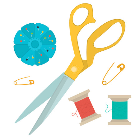 set of tools for sewing. Vector
