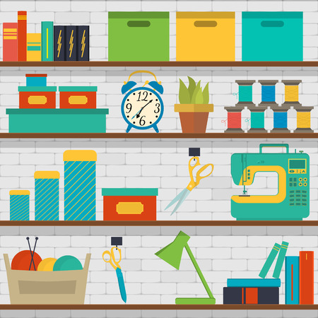 Vector seamless pattern shelf with tools for sewing and knitting, craft tools