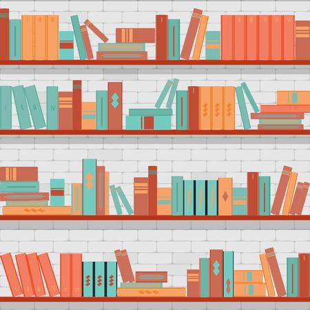 vector seamless pattern bookshelves, books on the brick wall background