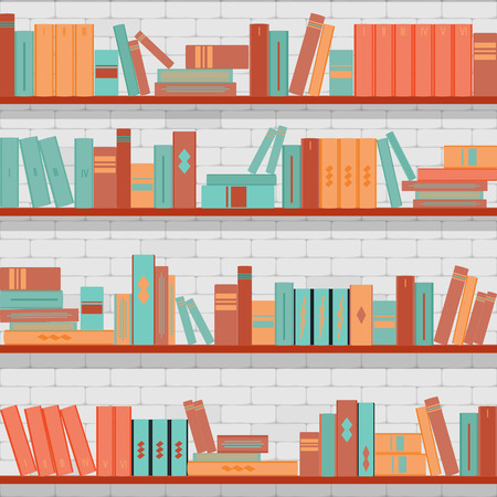 magazine stack: vector seamless pattern bookshelves, books on the brick wall background