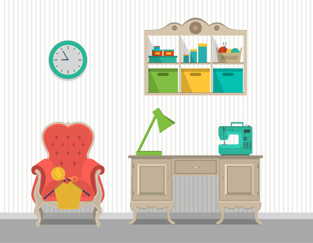 Vector interior rooms for crafts. Flat design. 向量圖像