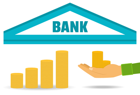 bank deposit: Business concept. Bank deposit, saving money, the accumulation of money. Vector. Flat style.