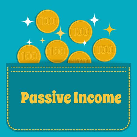 passive income: Business concept. Passive income. Gold coins fall into the pocket. Flat design. Illustration