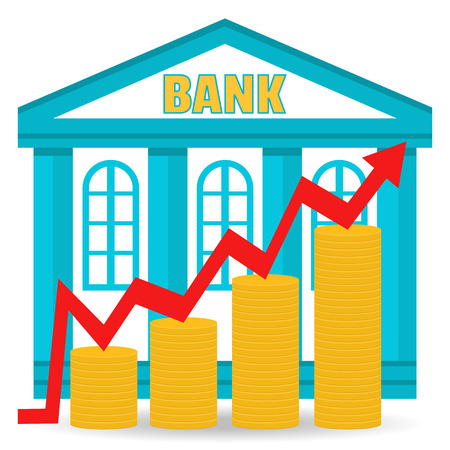 bank deposit: Business concept. Bank deposit growth chart. Income. The building of the bank and coins in stacks.