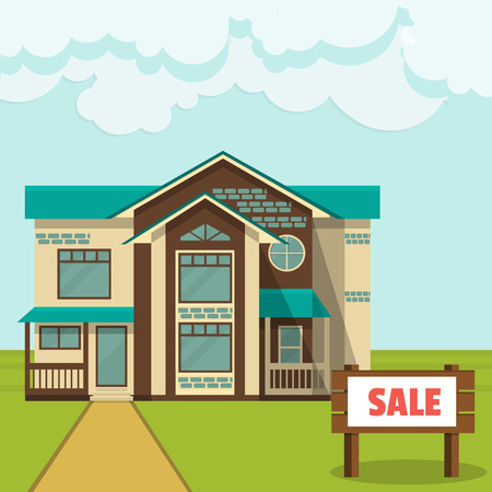 family in front of house: Vector illustration, concept - cottage for sale Flat style.