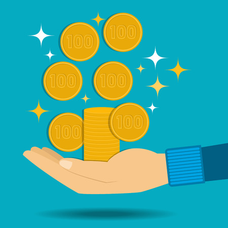 Vector illustration. Gold coins fall into the hand. Passive income. Flat design.