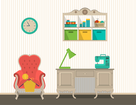 Vector interior rooms for crafts. Flat design. Vector