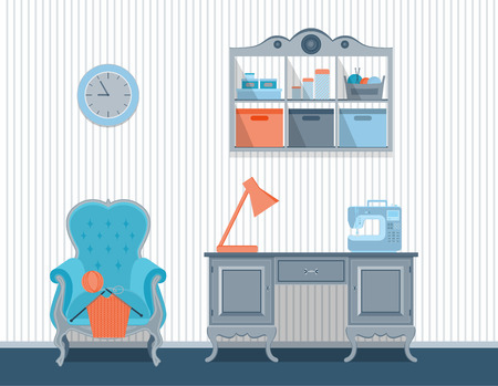 interior rooms for crafts. Flat design. Vector